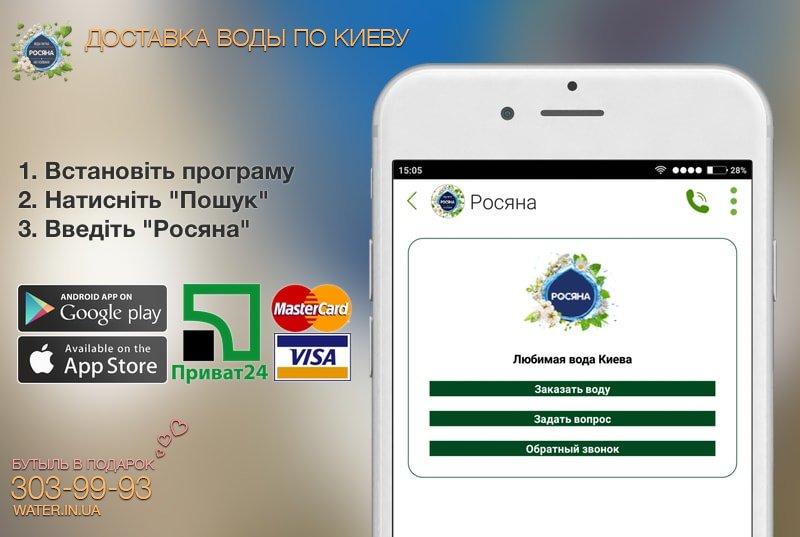 Оплата доставки води Росяна Приват24 або кредитною карткою